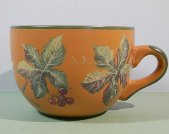20 oz Designpac Jumbo Cup Grape Leaf Motif Ginger Color Soup, Chili, Ice Cream Bowl, Drinking Mug Collect Ceramic Stoneware Co Worker Office