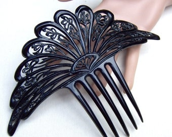Art Deco black celluloid Spanish hair comb hair accessory headdress headpiece decorative comb hair ornament