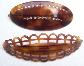 Vintage hair barrettes 2 mod style mid century hair accessory hair clip hair slide hair jewelry hair ornament (AAR)
