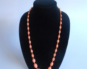 Helen St-Clair Takes the Stage - Vintage 1930s Peach Orange Celluloid Beaded Strand Necklace