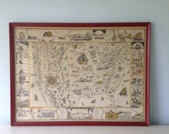 Van Loons Map of America, Vintage Original 1934 Print, Americana Early Settlement Map, Large Framed Vintage Map