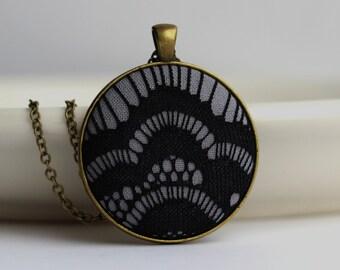 Art Deco Jewelry, Dark Gray and Black Necklace, Black Lace Necklace Art Deco Necklace, Black and Gold, Black Gothic Jewelry