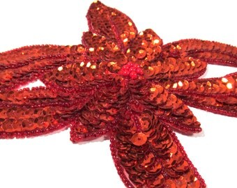 Beaded Sequin Applique Poinsettia VINTAGE Christmas Red Hand Stitched Beaded Applique Handmade Beaded Stitched Sewing Supplies (T290)