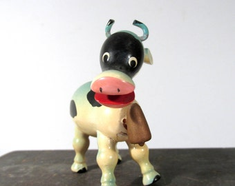 VINTAGE Nodder Bobble Head Cow with Cowbell Goula Carved Wood Painted One (1) Blue Cow 1970s Made in Spain Figure Collectible (F240)