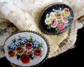 Victorian Hand Crafted MicroMosaic Pin Pair