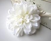 Large White Hair Flower Dahlia Clip, Bridal Wedding