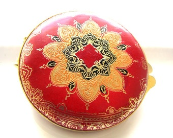 Vintage Compact Mirror Compact Florentine Leather Red Gold Italy Ladies Accessories from AllieEtCie
