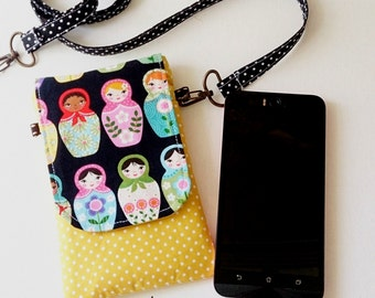 Matryoshka  Padded iPhone pouch, cellphonecover,  iPhone sleeve iPod sleeve crossbody sling  bag for Iphone 6, Samsung galaxy S6, Nexus, LG