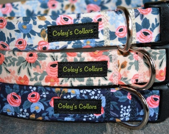 """Rifle Paper Co Dog Collar, Floral Dog Collar, Girl Dog Collar, Boy Dog Collar, Custom Dog Collar, Vintage Inspired, """"The Rosa Collection"""""""