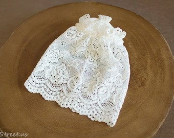 Baby Girl Hat, Baby Hat Newborn Baby Girl Lace Ivory Hat,Off  WHite Hat, Baby Prop, Newborn Props, baby Props, Vintage Props, Natural