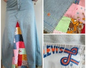 Reserved for Martin ~ RARE Vintage 1970s Levis Maxi Skirt // Denim Patchwork Embroidery Boho Hippie Woodstock
