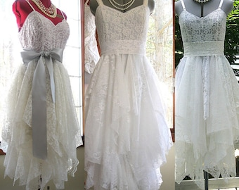 Tattered alternative bride hippie gypsy boho bohemian wedding dress, made to order, Bohemian Queen in shades of off white, cream, ivory