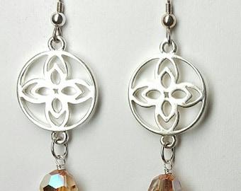 Silver flower earrings