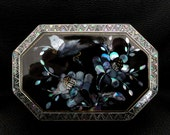 Vintage Black Lacquer Box with Mother of Pearl Inlay, Flowers, Birds