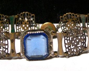 Art DECO CZech FILIGREE Blue Glass BRACELET- c1915