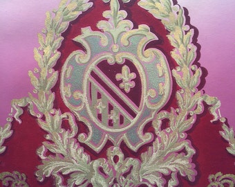 Vintage Antique Wallpaper - Deep Red Pink Medallion Swags w/ Glitter Gold Victorian - 1900's - 28 Inches