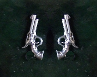 45 Caliber 6 Shooter Gun Stud Earrings Sterling Silver Free Domestic Shipping