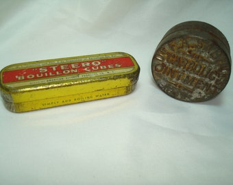 Vintage Steero Bouillon Cubes Tin and Dr A Saabines Carbolic Ointment Tin.