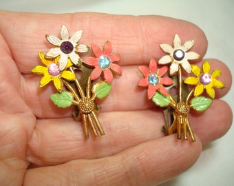 1950s Colorful Pink White and Yellow with Jewels Flower earrings.