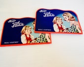 Vintage Needle Books, Sew & Stitch, Mother Daughter, Set of 2, Sewing Supply