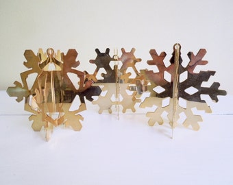 Set of 3 Vintage Brass Ornaments, Snowflakes, Danbury Mint, Holiday Decor