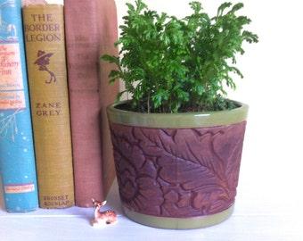 Vintage Pottery Flower Pot, Brown Textured Green Glaze, Garden Decor, Made in Japan