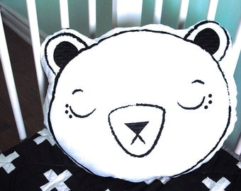 Modern black and white minky sleeping bear pillow