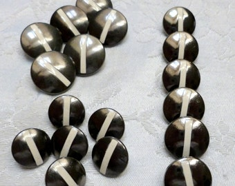 Vintage Metal Buttons, Chrome Gunmetal Finish, White Stripe Design, Metal Loop shanks, Made in Italy, Circa 1980's,  6 Buttons in Lot