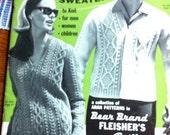 Aran Fisherman Sweaters to knit for men women children Bear Brand Bucilla & Botany yarns old knitting booklet