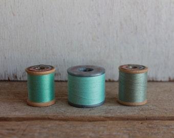 Vintage Thread Spools // Aqua, Mint, Cornflower