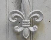 Cast iron Door knocker Fleur De Lis White wall door French country hardware supplies large 5 x 8