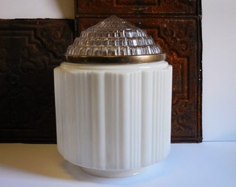 Antique Ceiling light shade Large white ribbed glass Globe Cut glass Soda Parlor lighting fixture
