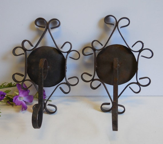 Indoor Plant Wall Sconces : Two vintage Plant hooks Wrought iron Wall mount hangers