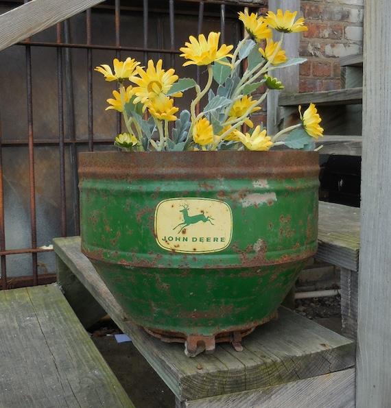 John Deere Flower Pots : Vintage john deere planter bucket corn spreader rustic