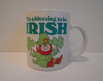 Vintage Leprechaun Irish Saint Patrick's Day coffee mug