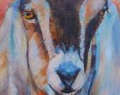 Nubian Goat, Custom Painting, Farm Animal, Goat, Commisioned art,