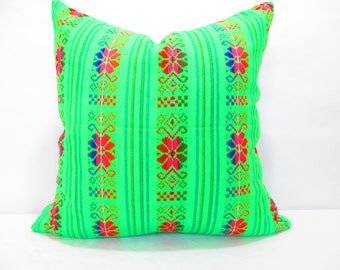 Tribal pillow cover 18x18, lime green Tribal Pillow Covers, Colorful Pillow Covers, Bohemian Decor, Boho Bedding, Mexican Cushion, Square,