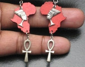 Red Wood Africa, Silver Ankh and Silver Nefertiti Earrings.