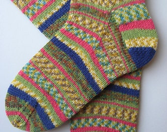 hand knitted womens wool socks, UK 6-8 US 8-10, ladies socks, multicolored socks, knitted socks, gift for women, blue green yellow socks