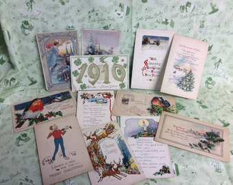 12 Antique Christmas Postcards - 1920's