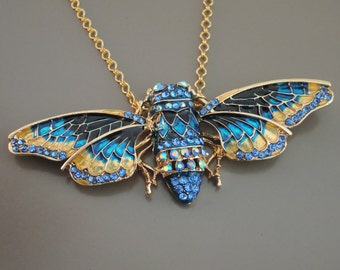 Statement Necklace - Gold Necklace - Butterfly Necklace - Upcycle Necklace - Blue Necklace - Rhinestone Necklace - Bug Jewelry - Handmade