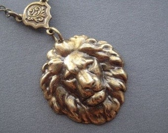 Lion Necklace - Lion Jewelry - Animal Jewelry - Lion Pendant - Pendant - Leo Jewelry - Unisex Necklace - Birthday Gift - Lion Heart