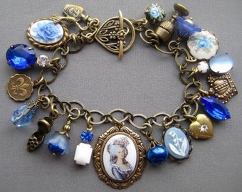 Charm Bracelet - Vintage Style Jewelry - Rhinestone Bracelet - Marie Antoinette Jewelry - Blue Bracelet - Victorian Jewelry - Cameo Bracelet