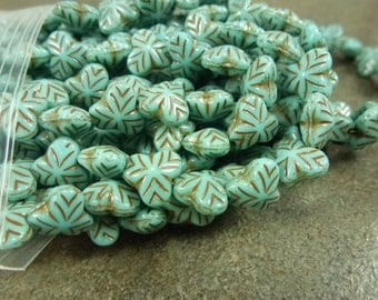 Turquoise/Brown Inlay Berry Leaves Czech Glass 9mm 25pc