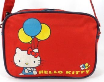 Vintage Hello Kitty 1976 Red Canvas Purse