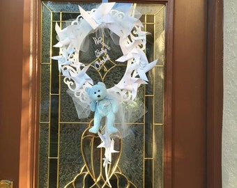 Personalized Welcome Baby Wreath with pinwheels and teddy bear for baby shower and sip-n-see