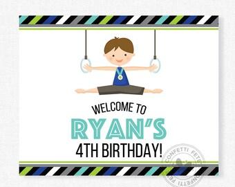 Gymnastics Welcome Sign, Gymnastics Boy Birthday Sign, Gymnastics Party Decoration, Printable 8x10 Sign