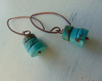 Dark Turquoise And Copper Earrings