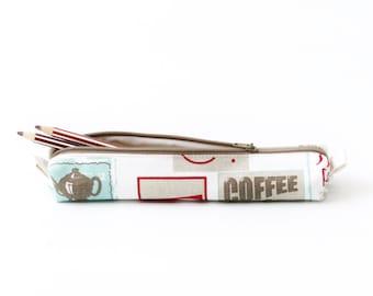 Coffee and Tea Print Small Pencil Case, White Polka Dots, Cotton Zipper Pouch, Small Cosmetic Case