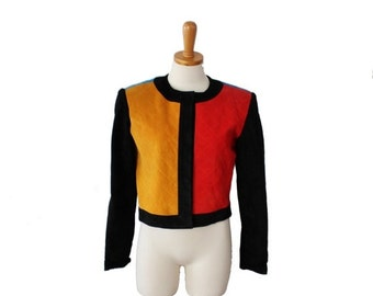 50% half off sale // Vintage 80s  Pia Rucci Color Block Cropped Leather Jacket - Women size 6 Small